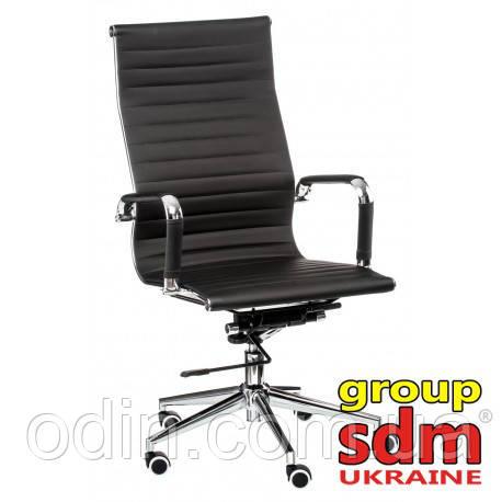 Кресло офисное Алабама НNEW, высокая спинка, кожзам, механизм качания, цвет черный ALAB-HBL