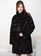 Полушубок из норки чёрного цвета, силуэт - полуприлегающий 90 см
