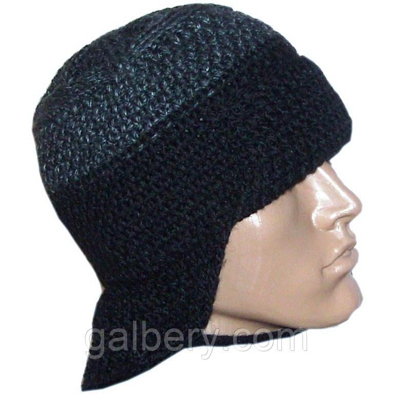 Мужская вязаная шапка - ушанка на подкладке объемной крупной вязки