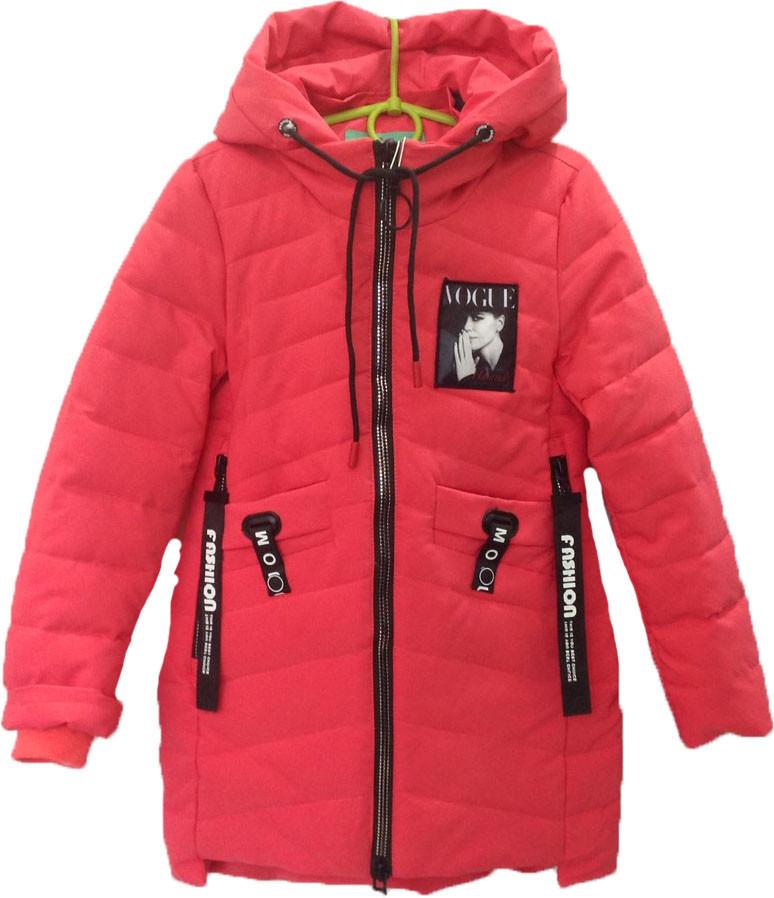 """Куртка подростковая демисезонная """"Vogue"""" #BM-819 для девочек. 8-9-10-11-12 лет. Коралловая. Оптом."""