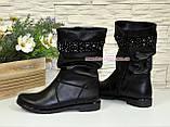 Ботинки кожаные декорированы стразами, фото 2
