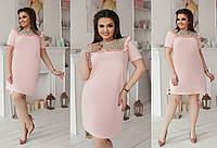 Платье креп костюмка+сетка Мод 347 батал (AMBR)