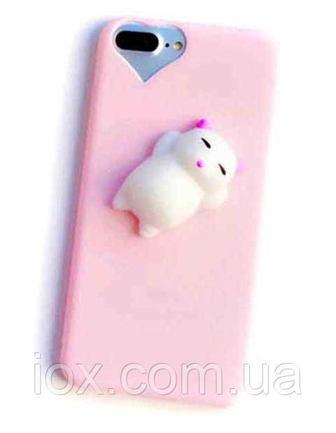 Мягкий релаксационный антистрессовый чехол с котиком для iPhone 6/6s