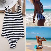 Летний, пляжный сплошной купальник для девушек, полосатый, черно-белый, (в полоску) размер S