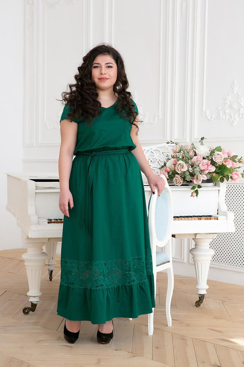 49e81082341 Платье в пол хлопковое для полных женщин Рич зеленое (54-60) - DS
