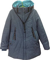 Куртка подростковая демисезонная с наушниками #66-388 для девочек. 9-10-11-12-13 лет. Серая. Оптом., фото 1
