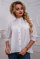 Красивая женская блуза с кружевом свободного кроя 44-50 размера, фото 1