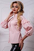 Блуза прямого силуэта со спущенным плечом с вышивкой 44-50 размера, фото 1