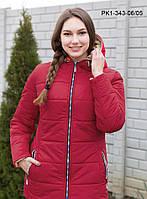 Женская демисезонная короткая куртка / размер 48-58 / цвет бордо