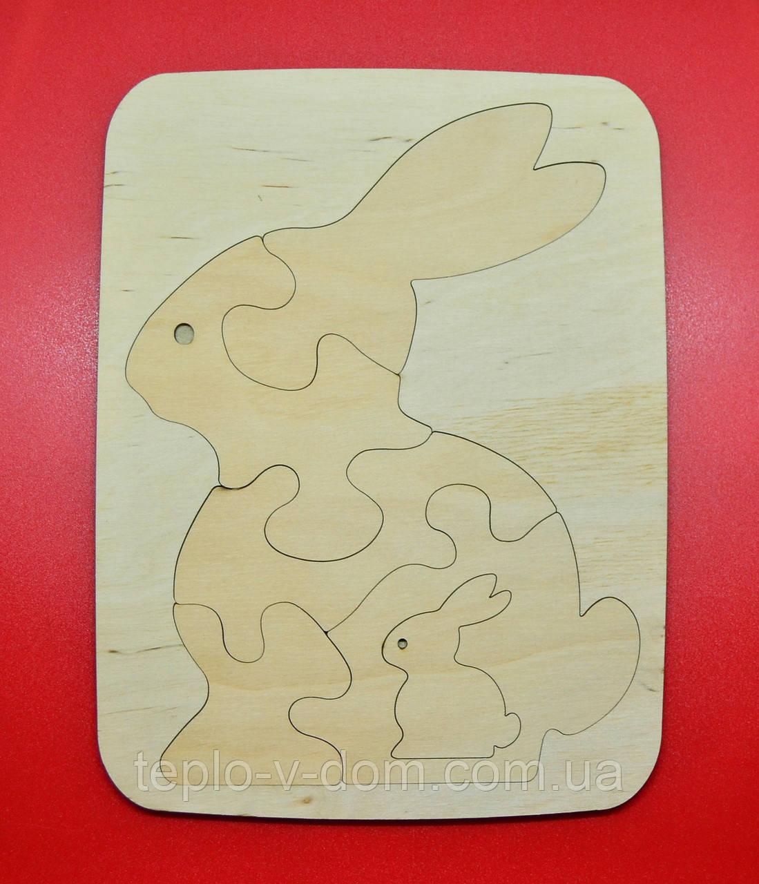 Деревянный пазл-кролик.25х19см.