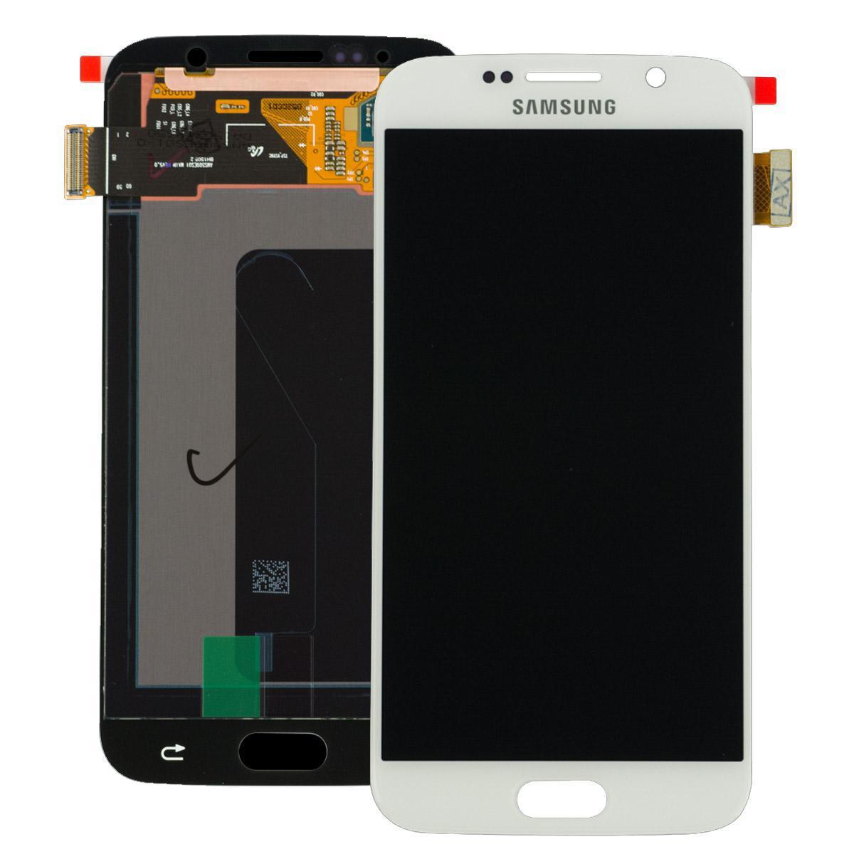 Дисплей модуль Samsung G920F Galaxy S6 в зборі з тачскріном, білий, Original, переклеєне скло