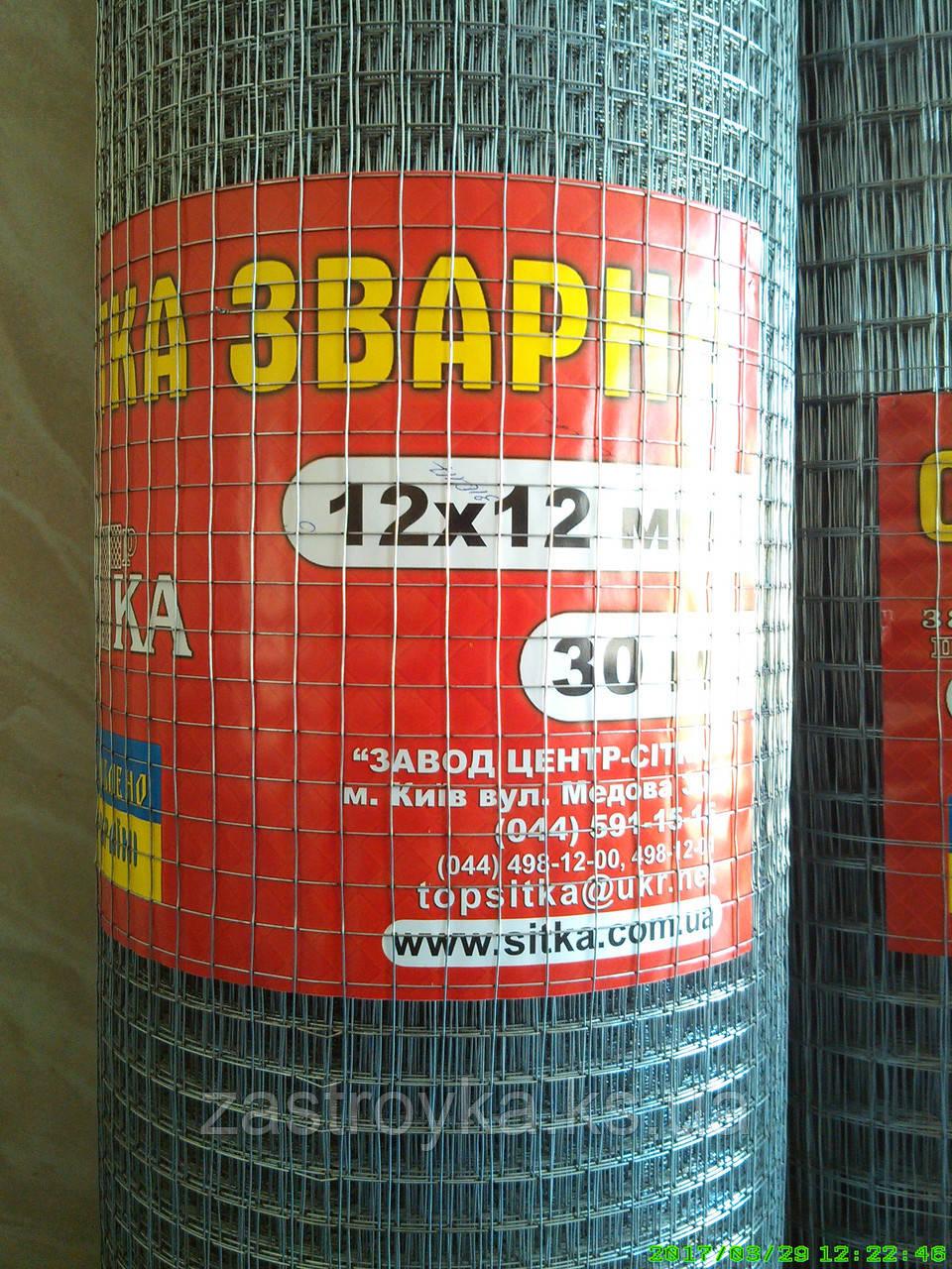 Сетка сварная 12х12мм d0,9мм (1х30м) (оцинкованная) на метраж не режем