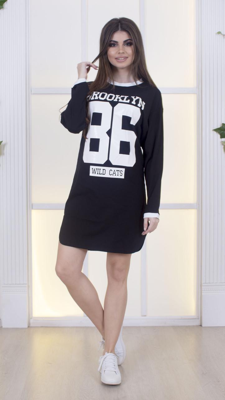 7aa709434a1 Черное платье-туника с белым принтом накатом в спортивном стиле ...