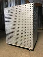 Мобильная корзина сетка из перфометалла на колесах для разных товаров