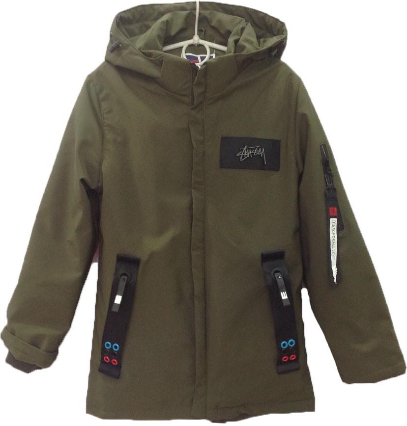 """Куртка подростковая демисезонная """"Chun Xu"""" #808 для мальчиков. 9-10-11-12-13 лет. Коричнево-зеленая. Оптом."""