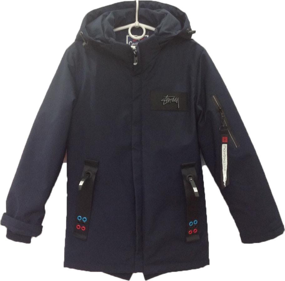 """Куртка подростковая демисезонная """"Chun Xu"""" #808 для мальчиков. 9-10-11-12-13 лет. Темно-синяя. Оптом."""