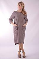 Платье сафари летнее хлопковое  чайная роза 48,50,52,54 .