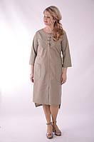 Платье сафари летнее хлопковое  олива хакки беж 48,50,52,54 .
