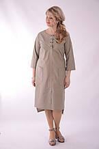 Платье сафари летнее хлопковое  олива хакки беж 48,50,52,54 .Пл 099-6 Олива