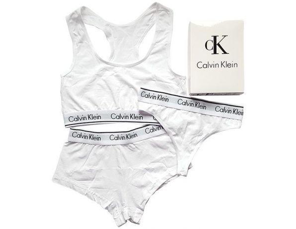 Набор топ + шортики + бикини Calvin Klein размер L белый
