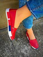 Женские красные балетки- эспадрильи в итальянском стиле