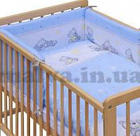 """Постельный комплект в детскую кроватку""""Мишки с игрушками""""  Голубой, фото 1"""
