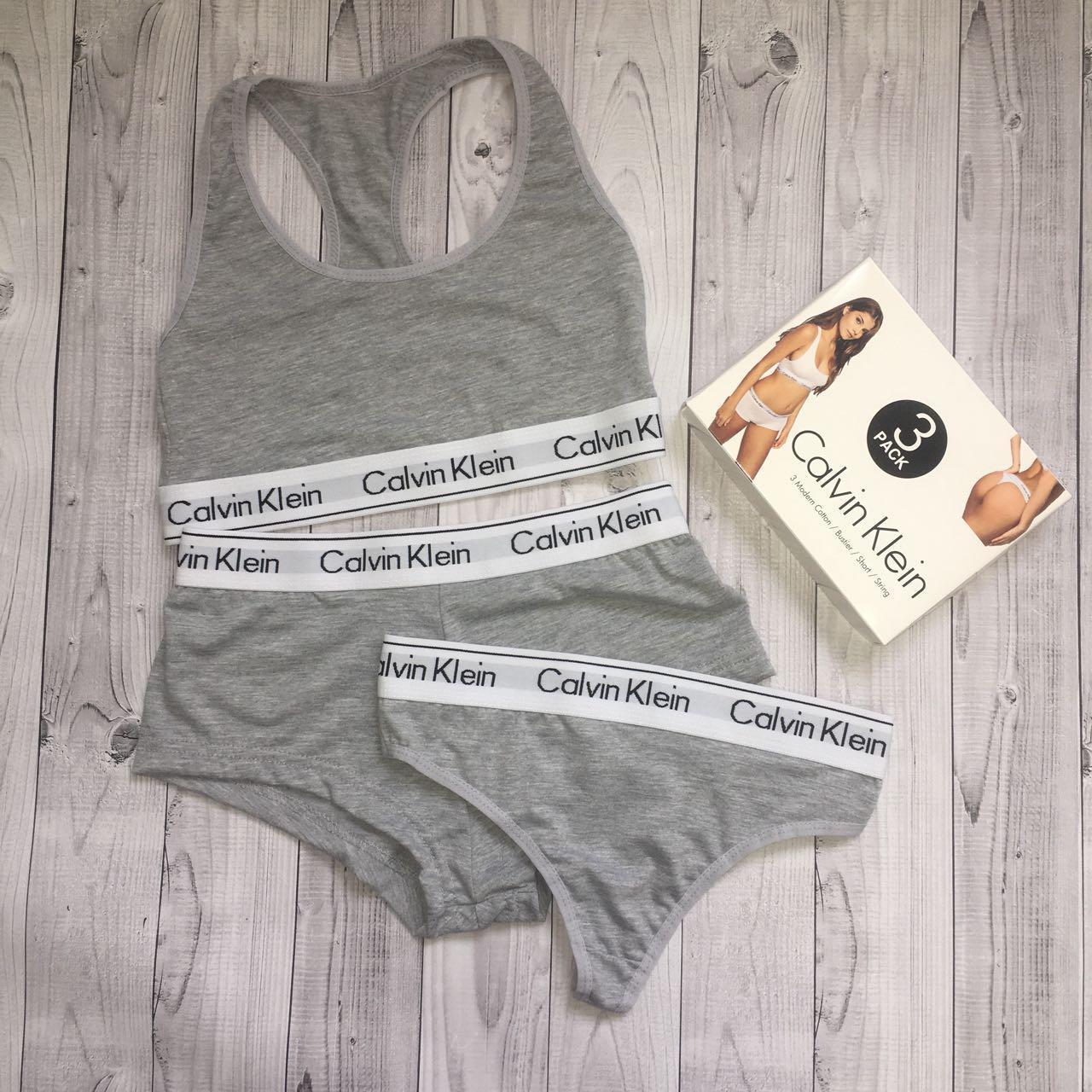 Набор топ + шортики + бикини Calvin Klein размер L серый