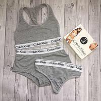 Набор топ + шортики + бикини Calvin Klein размер L серый, фото 1