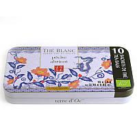 Органический белый чай  с ароматом персика и абрикоса ,14 г Terre d'Oc