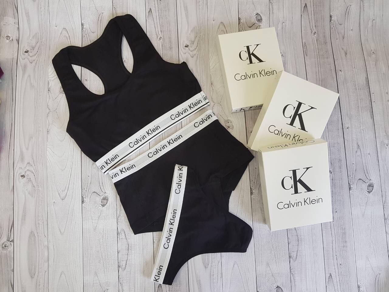 Набор топ + шортики + бикини Calvin Klein размер M чёрный
