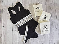 Набор топ + шортики + бикини Calvin Klein размер XL чёрный