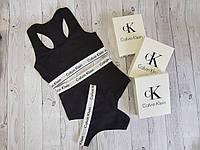 Набор топ + шортики + бикини Calvin Klein размер M чёрный, фото 1