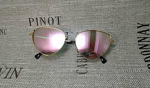 Зеркальные очки с розовыми линзами