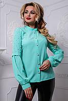 Модная блузка прилегающего силуэта з жемчугом 42-48 размера, фото 1