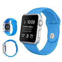 Силиконовый ремешок для Apple Watch Sport 42 mm Голубой ( Blue ).
