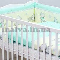 """Комплект постельного белья в кроватку """"Мишки игрушки""""  с балдахином (бирюзовый), фото 1"""