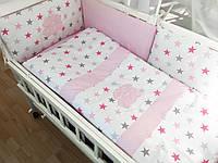 """Детский комплект в кроватку """"Звезды серо-малиновые с горошком на розовом"""""""