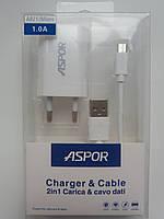 Сетевое зарядное устройство Aspor (A821) с кабелем micro usb, фото 1