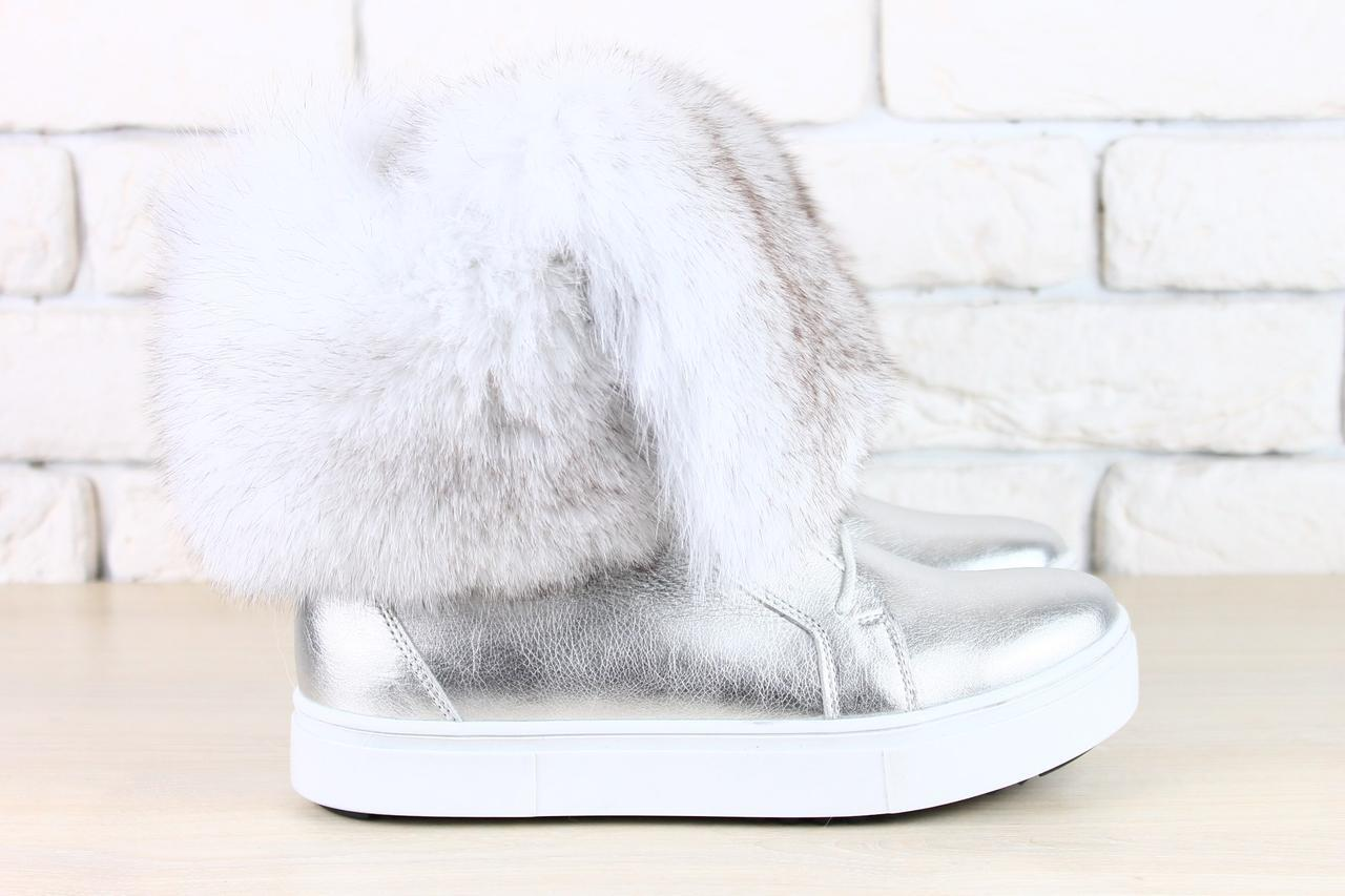 70a152b44 Женские зимние ботинки серебро натуральная кожа с мехом песца -