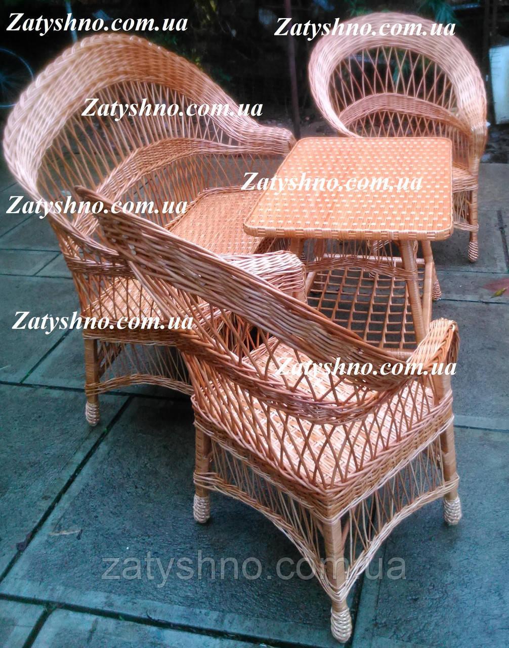 Плетеная мебель из дерева и лозы