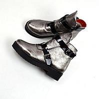 Женские зимние ботинки никель натуральная кожа в стиле H@RMES