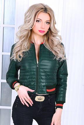 """Короткая стеганая женская куртка """"BOMBA"""" с контрастными манжетами (3 цвета), фото 2"""