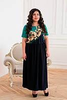 Стройнящее платье с цветочным рисунком Елена бирюза