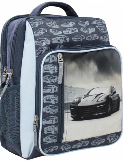 Рюкзак школьный серый с машиной