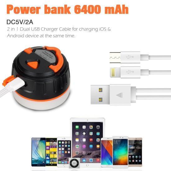 Фонарик/POWERBANK Lanktoo IP65 2-в-1 аккумуляторный 6400 mAh, на магните