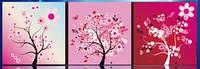 """Алмазная вышивка триптих """"Розовые деревья"""""""