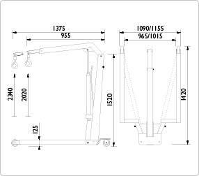 Складной гидравлический кран 0.55 т, AC Hydraulic, WJN5, фото 2