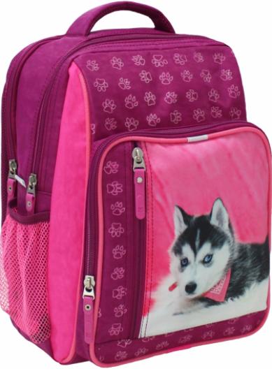 Рюкзак школьный малиновый с собачкой