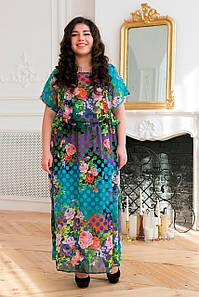 Длинное летнее платье для полных Фанни бирюза