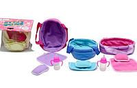 Аксессуары для пупса C0527-16  переноска для пупса до 15см,одеяло,подушка,бутылочка